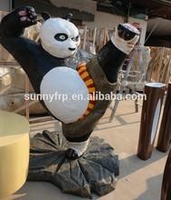 Outdoor fiberglass strong panda mascot figure