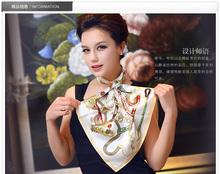 Lady's fashion silk print air hostess scarf