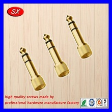 custom gold plated screw type socket for furniture parts,steel screw for decorate parts made in dongguan