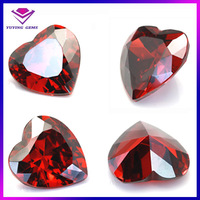 China wholesale prices 8*8mm garnet heart red loose cubic zirconia gemstone