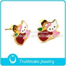 Shiny Polishing 18K Gold Plating High Quality Surgical Steel Cute Kids Colorful Enamel Hello Kitty Stud Earrings Jewelry