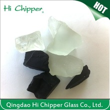 Black colored glass block bricks for fireplace decoration