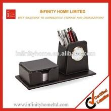 Executive Black PU Leather Desktop Pen Holder With Clock