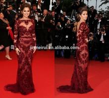 Red Carpet Evening Long Sleeves Boat Neck Burgundy Appliqued Nude Chery Cole Zuhair Murad Celebrity Dress Evening Dresses 2015