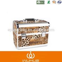 2015 new arrived double open leopard print series portable aluminum case