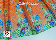 Hot sale mix color african orange cord lace fabric of SL10137-3 orange