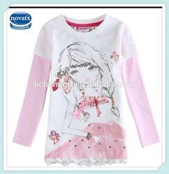 2-6Y (F5669) Cream New winter top nova brand kids high quality cotton bead on applique baby girl tshirts