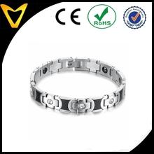 Unisex Silver Titanium Bracelets Magnet Cross Pattern for Love Couples