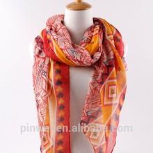 fashion handmade stripe polyester voile scarf PWS0033