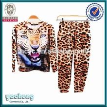 custom design sublimation tiger full printing korean t-shirt and pant set for women