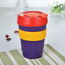 Hot sale ecologically food grade silicone plastic travel mug, 340ml