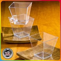 Disposable Square Mini Cube Clear Tasting Plastic Dessert Cups