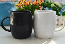 16oz white/black ceramic bucket barrel shape mug