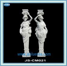 Decorative Lighted White Granite Wedding Pedestal Columns