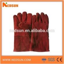 Velvet lined grain leather hand gloves cow split
