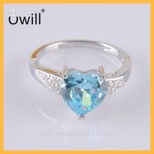 Aquamarine Cubic Zirconia Silver Heart Ring Platinum , Synthetic Heart Cutting Birthstone Ring ,Heart Blue Zircon Ring Silver