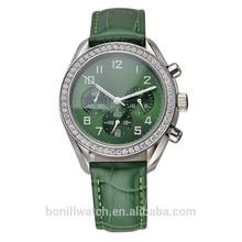 2015 diamond Lady Leather Bracele fashion leather vogue quartz lady mechanical watch