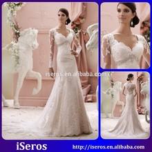 New Style Vintage V Neck Long Sleeve Applique Beaded Crystals Sequins Elegant Lace Mermaid Alibaba Wedding Dresses 2015