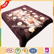 Newest Design flower pattern printed fleece blanket heavy wool luxury mink blanket