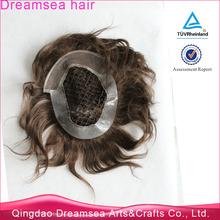Virgin indian human hair cheap 5x7 free shipping toupee dark brown integration hairpieces