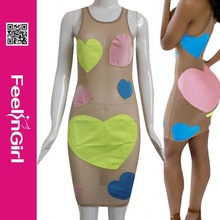 2015 New Arrival Nude Transparent Dress Girls Sexy Night Black