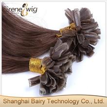 Wholesale remy fashion keratin nail tip hair/U tip Natural straight brazilian hair
