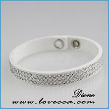luxury jewelry shiny crystal elastic rhinestone bracelet with wrap leather