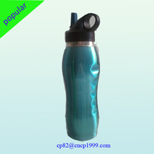 800ML single wall stainless steel sports water bottle with plastic sipper straw cap