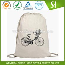 Recycled promotion plain cotton drawstring bag