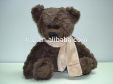 Custom-Made Cute Scarf Brown Stuffed Plush Animal Bear Toy