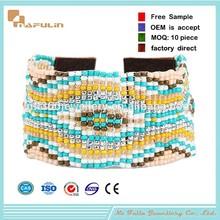 NAFULIN Fashion bohemia style handcraft 2mm gemstone bead wrap bracelet,engraved leather bracelets