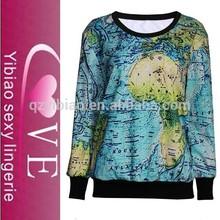 hot sell world maps printing fleece sweatshirts women wear