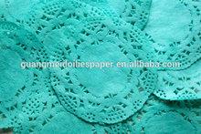papel azul naperons de renda