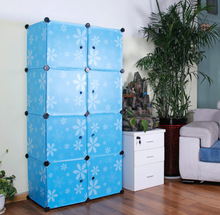 Easy assemble hot sale pp plastic material 8 cubes daisy blue color folding storage organizers FH-AL0030-8