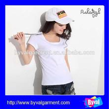 wholesale OEM 100% cotton simple girl t-shirt high quality white blank /fashion plain short sleeve tshirt for women