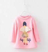 Z83832C 2014 fashion style thicken pure color fleece cute children t-shirts