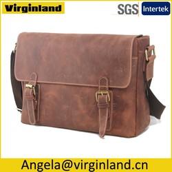 Top Quality 100% Real Leather Travel Laptop Bag Messenger Computer Bag