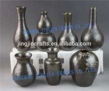 hot selling glazed ceramic porcelain vase set 3 assorted /modern home decorative porcelain vase/European style black vase set/