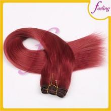Abundant stock cheap price no shedding&tangle red virgin straight human hair weaving