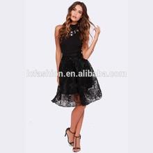 Sexy Long Skirt Black Knee Length Sheer Lace Skirt