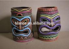 ceramic Tiki candle container