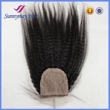 Kinky Straight Brazilian hair closure silk base closure, Wholesale price cheap lace closure