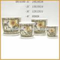 Barato macetas con decoración del platillo de cerámica maceta con platillo XH14105