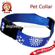 Snowflakes on Blue Dog Collar, Adjustable, with Optional Leash