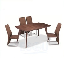 Modern Design Square 4-legs PU And Metal Wood Dining Table And Chair
