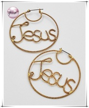 "Gold Tone Finish / Lead & Nickel Compliant / Religious & Message: ""jesus"" / Pin Catch Earring Set"