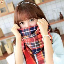 WJ13 The new dual sided long scarf shawl air conditioning Ms. big shawl collar thick warm plaid scarf