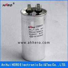 HERO exceptional quality CBB65 450VAC 35uF 50/60Hz AC metallized polypropylene film air conditioner capacitor
