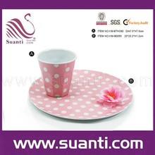 ขายส่งที่น่ารักสีชมพูนำมาใช้ใหม่ถ้วยกาแฟเมลามีนและถาด