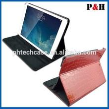leather case for apple ipad,crocodile leather case for ipad 2,for apple logo ipad leather case